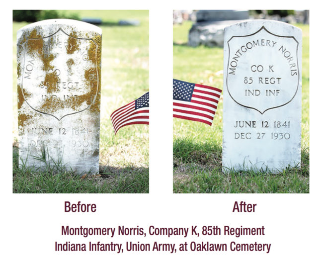 Montgomery Norris, Company K, 85th Regiment Indiana Infantry, Union Army, at Oaklawn Cemetery