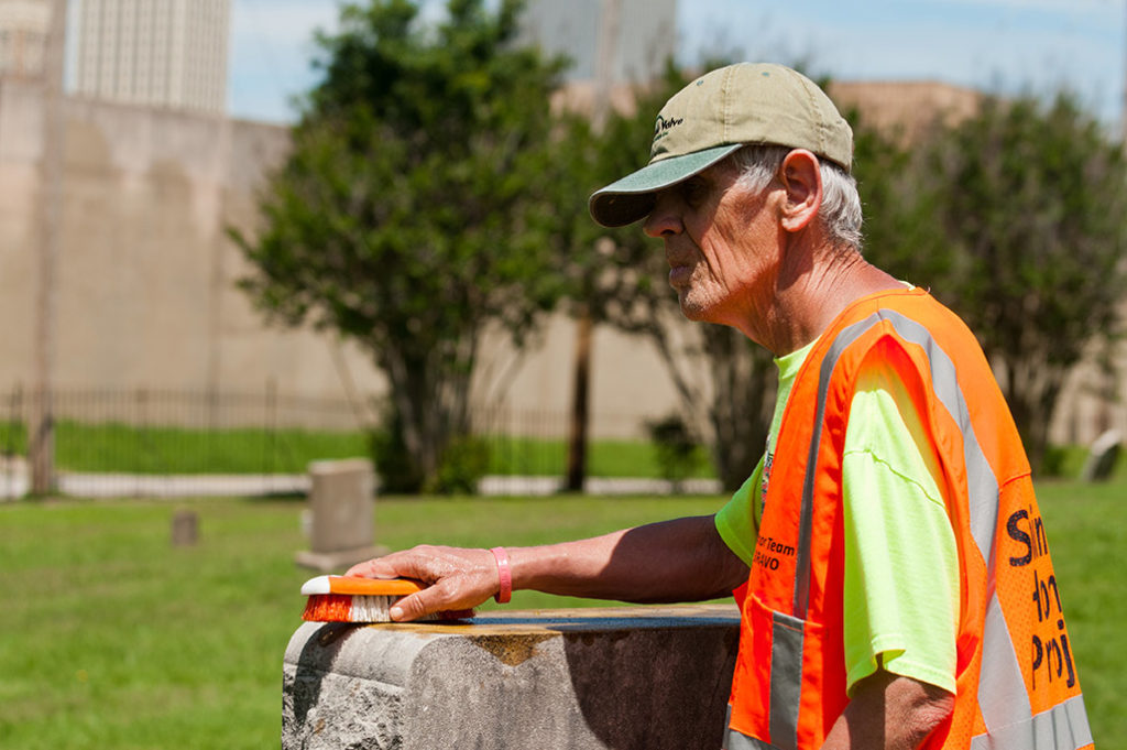 The Shining Honor Project employs adults with developmental challenges to clean veterans headstones