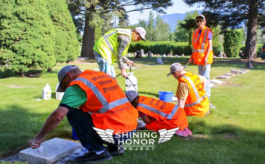 The Shining Honor Project cleaning veteran headstones in Montana