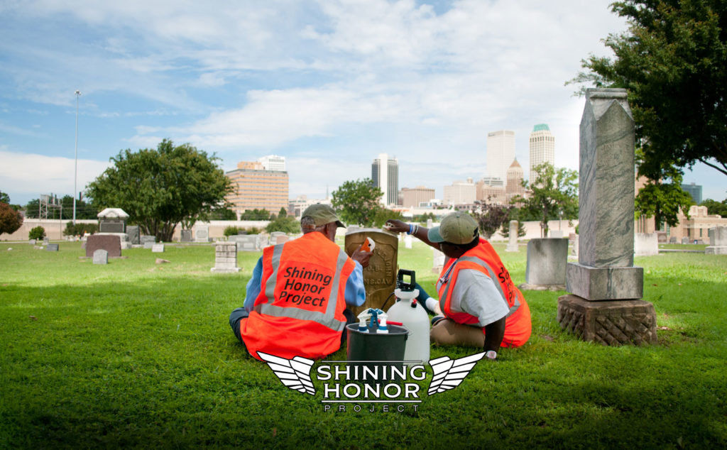 Ms. Kitty and Tony cleaning veteran headstones in Tulsa, Ok with the Shining Honor Project